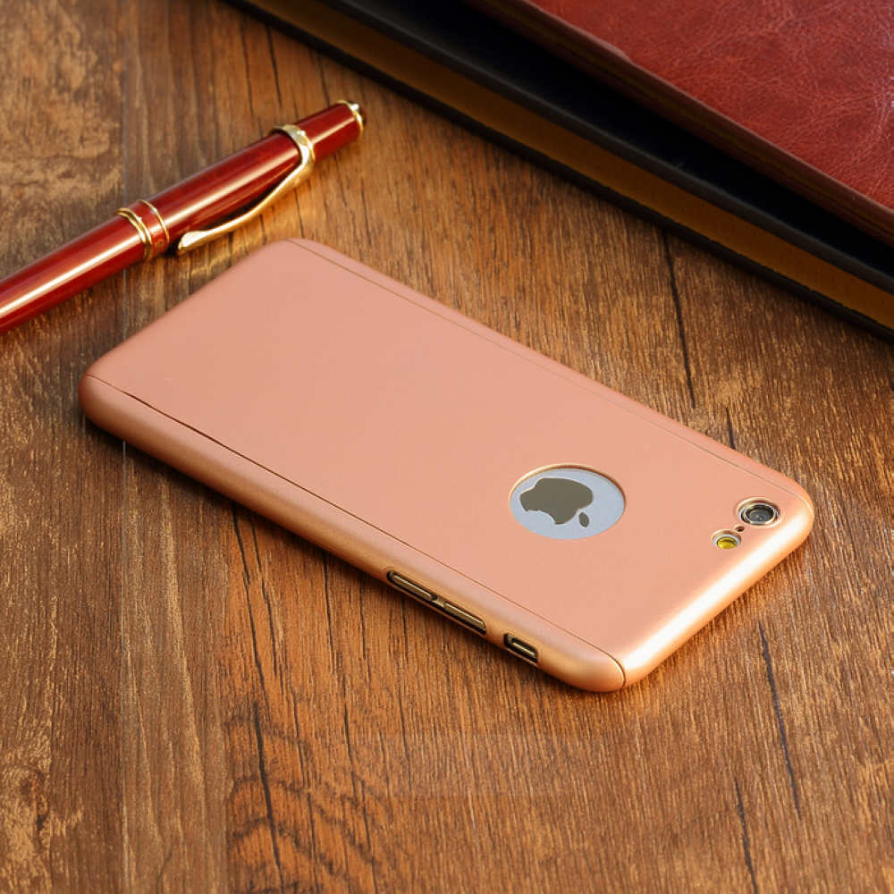 360 Full Body Case Cover Tempered Glass Screen Protector For IPhone 6 6S Plus Rose Gold