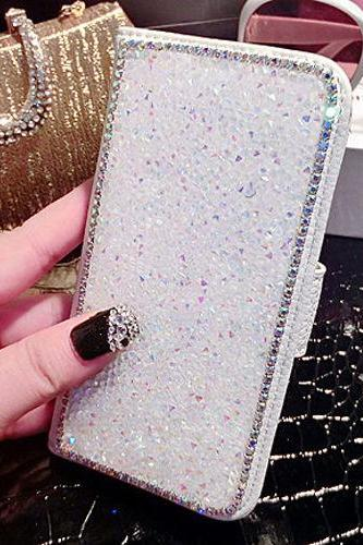 Luxury Bling Rhinestone Diamond Leather Cards Case Flip Wallet Phone Case Cover, White